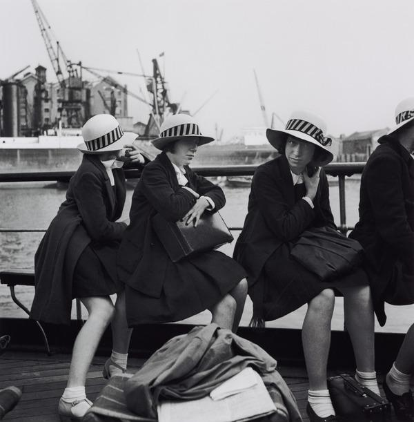 Untitled [Girls in school uniforms on boat] (About 1935 (negative))