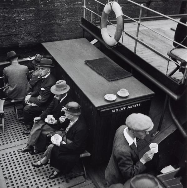 Untitled [Taking tea on boat] (About 1935 (negative))