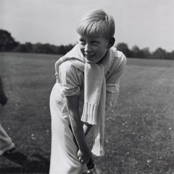 Untitled [Boy with Cricket Bat, Stoneham Camp, England] (1938 (negative))
