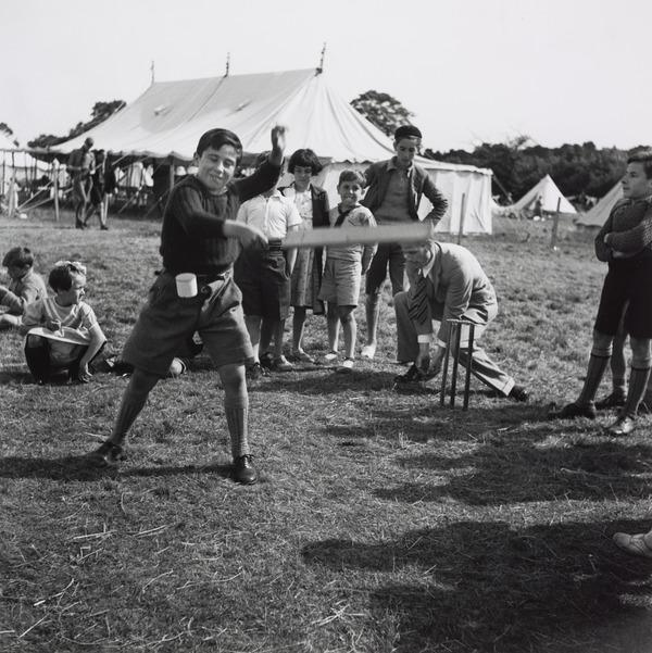 Untitled [Boy Playing Cricket, Stoneham Camp, England] (1938 (negative))