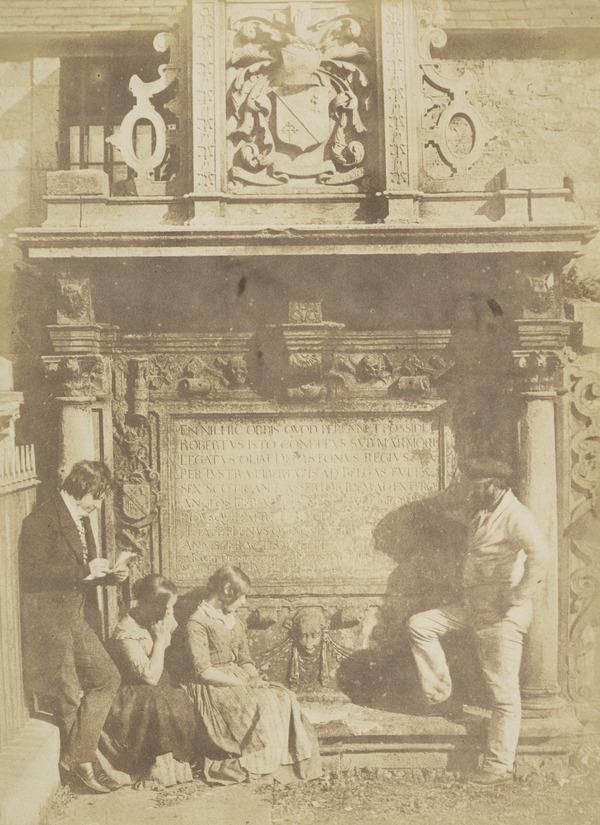 Greyfriars' Churchyard, the Dennistoun monument with David Octavius Hill and his nieces the Misses Watson [Edinburgh 48] (1843 - 1847)