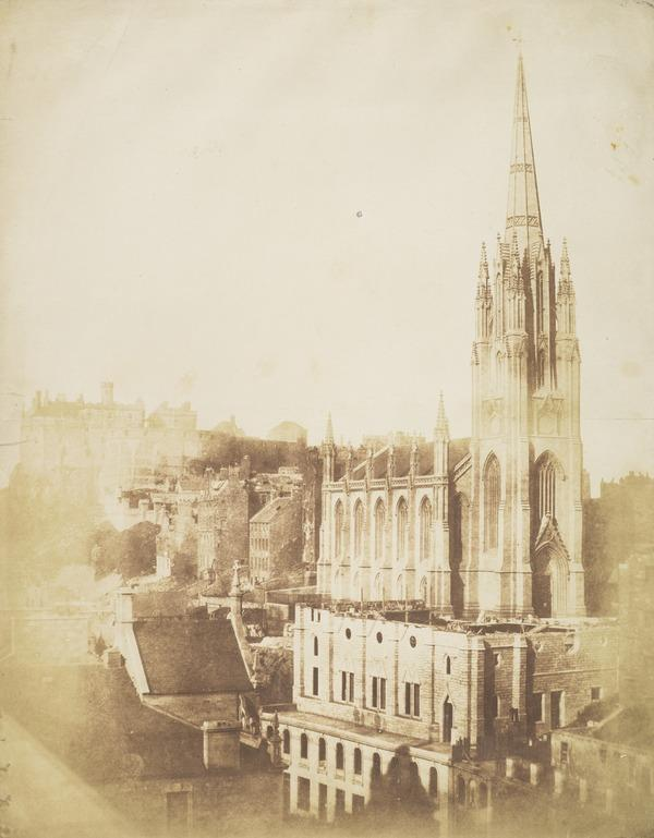 The General Assembly Hall of the Free Church during building with the Castle and the Church of Tolbooth St John in the background [Edinburgh 6] (9 September 1844)