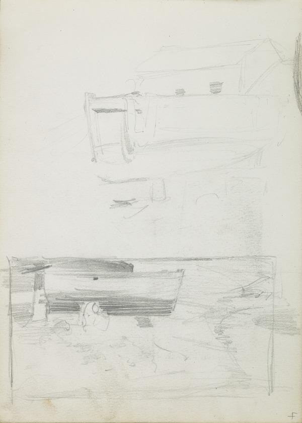 Sketch of a House; Composition Sketch of a Boat on Land (1883 - 1885)