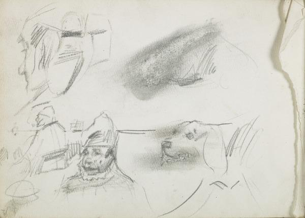 Sketches of Three Male Figures and a Dog's Head (1883 - 1891)