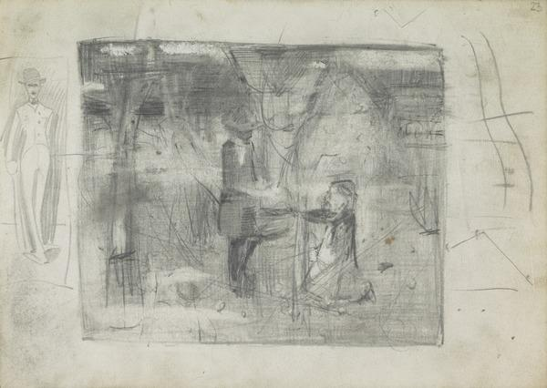 Sketch of a Standing Man; Composition Sketch for 'In the Orchard' (1885)