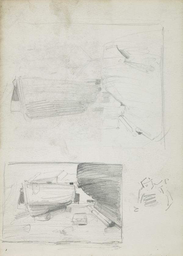 Two Composition Sketches of Boats on Land (1883 - 1885)