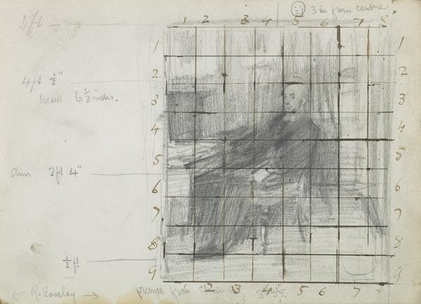 Study for a Portrait of Robert Gourlay (1840 - ?) with numbered grid (Before 1887)