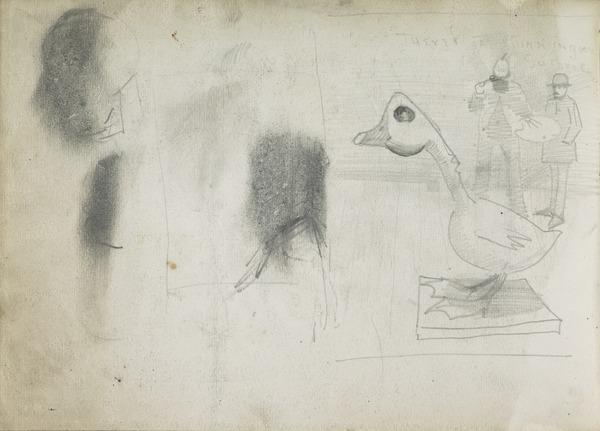 Comical Sketch of a Goose and Two Men (1883 - 1891)