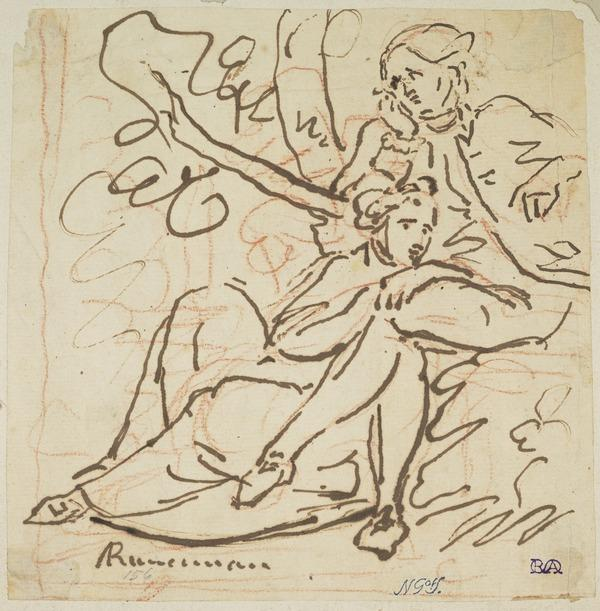 A Man Sitting on a Bench under a Tree; A Woman on the Ground Leaning on his Knees