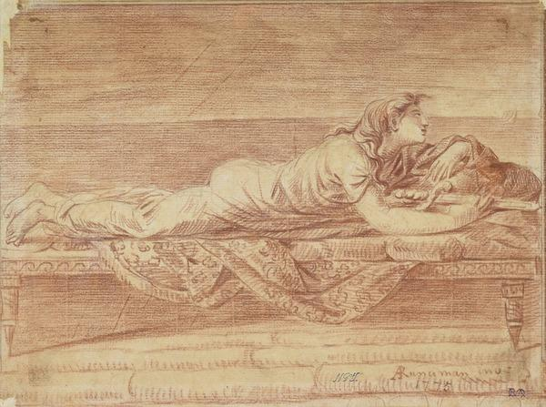 Dido with Sword Reclining on a Couch and Watching the Sea, with Boats in the Background (Dated 1775)