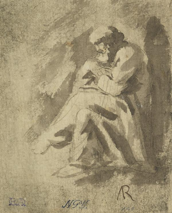 Study of an Old Bearded Man, Seated with Legs Crossed and Book in Hand