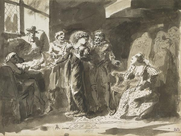 Study for the Painting 'Mary Queen of Scots Signing her Abdication'