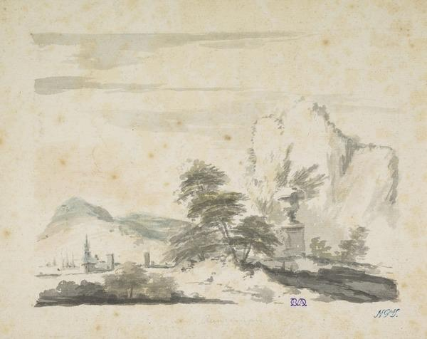 Distant Harbour Town with Ships, in the Foreground a Tomb Amongst Trees
