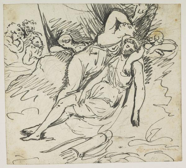 The Sleeping Diana and Companions [Verso: Nude Sketches]