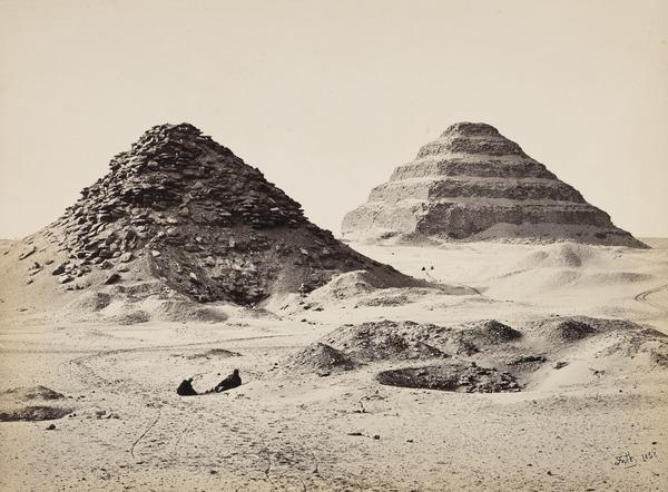 'The Pyramids of Sakkarah from the North East'. (1858)