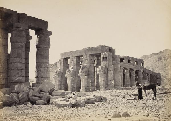 'The Ramesum of El-Kurneh, Thebes - second view'. (1857)