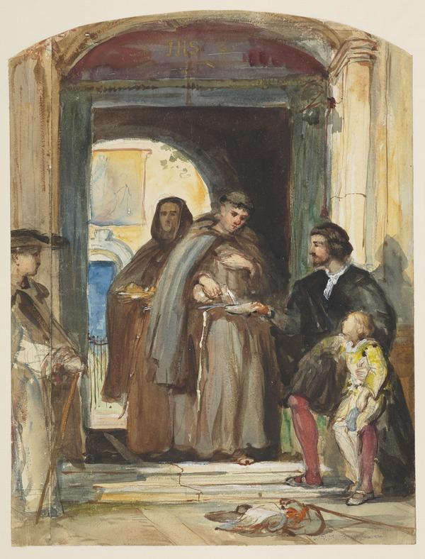 A Man and a Boy Receiving Food and Water from Monks at the Door of an Italian Monastery