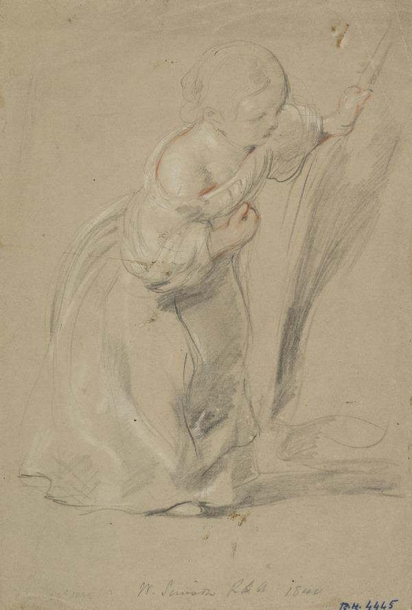 Young Girl Drawing a Curtain Aside (Dated 1842)