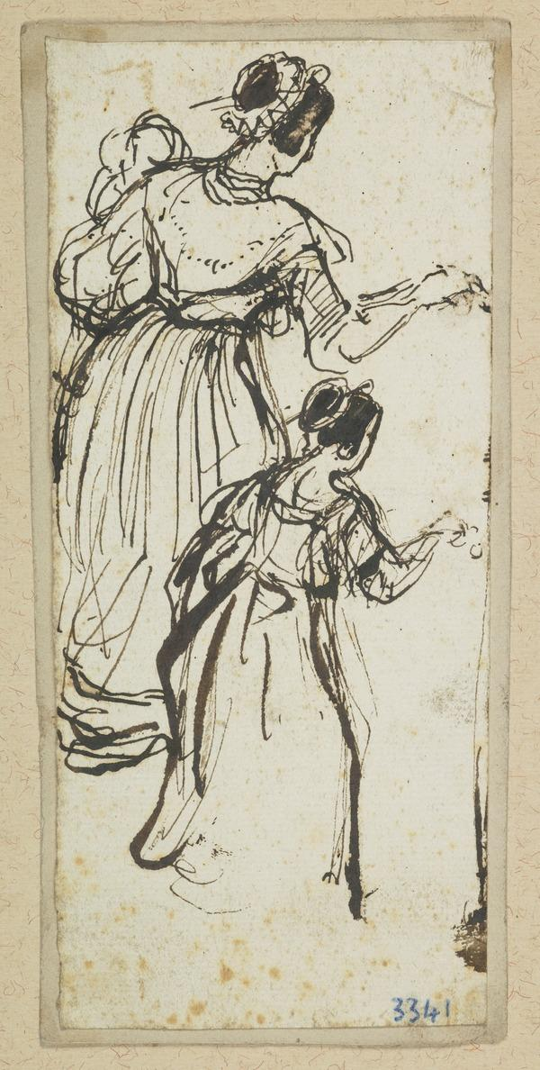 Two Studies of a Lady Curtseying
