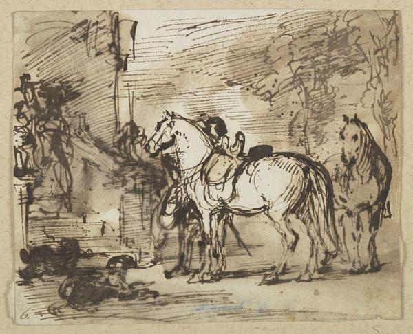 A Cavalier with Horses and Dogs Outside a House