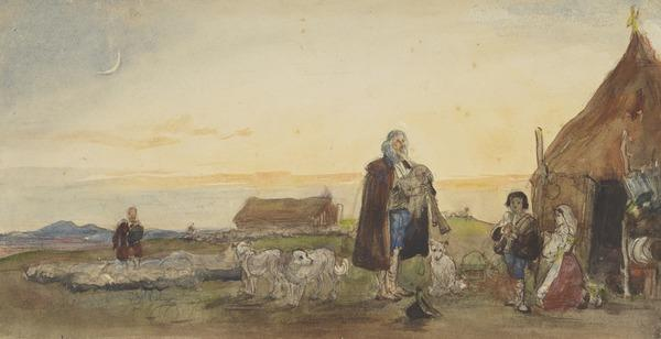 A Calabrian Piper with Sheep and Other Figures Outside a Cottage
