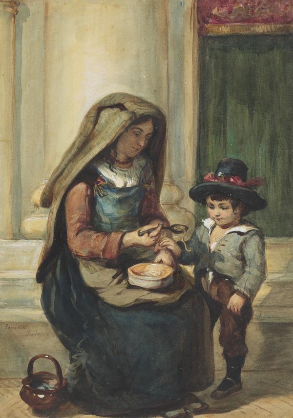 Italian Woman Feeding a Boy (Dated 1835)