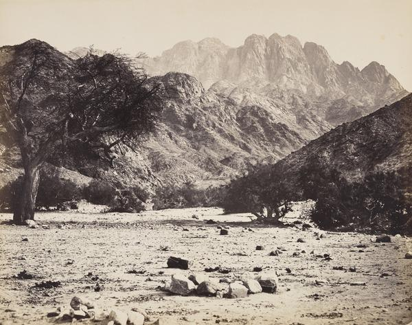 'Mount Serbal from the Wadee Feryam'. (Dated in negative 1858 (engraved on page 1857))