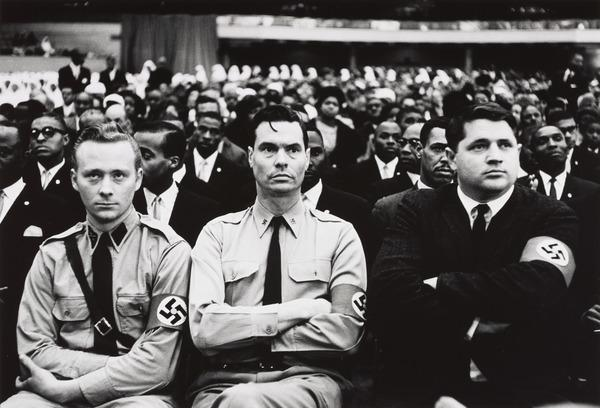 George Lincoln Rockwell (center), Head of the American Nazi Party, at Black Muslim Meeting, Washington, D. C. (1960)