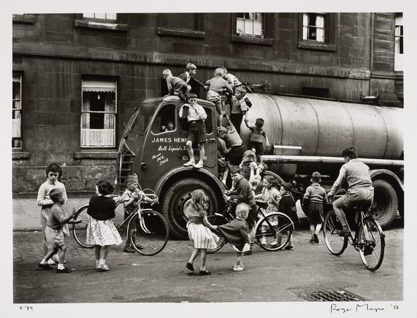Children playing on a lorry, Glasgow (Negative taken 30 August 1958)