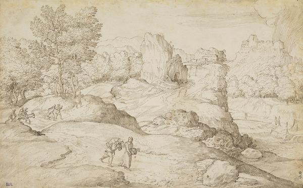 Rocky River Landscape with Figures