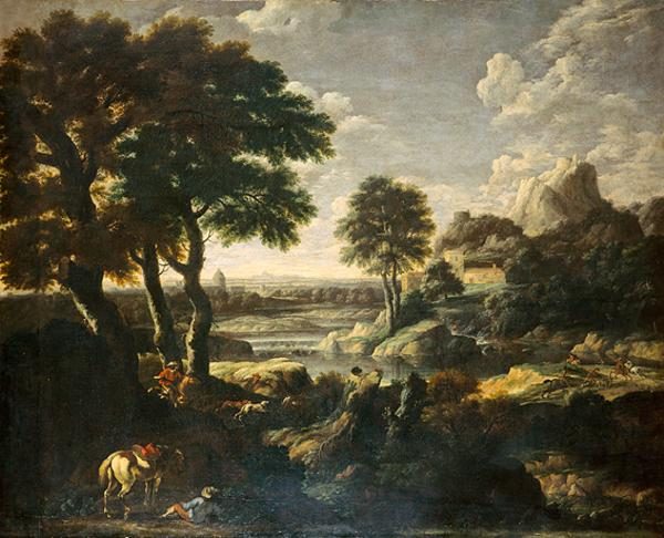 River Landscape with a Hunt (1615 - 1675)
