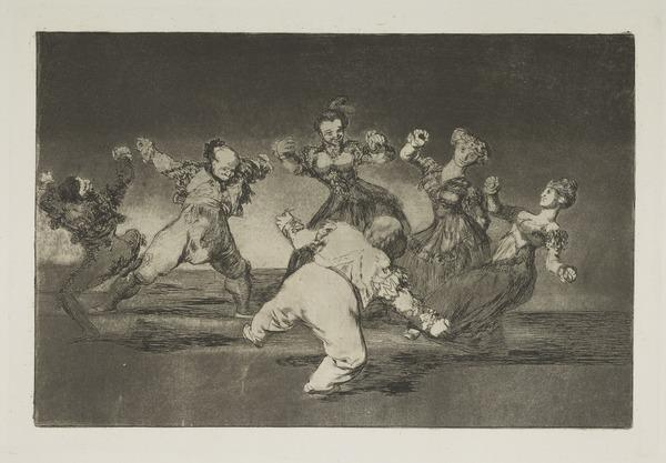 [Si Marina Baylo, Tome Lo Que Hallo] (If Marion will dance, then she has to take the consequences), Plate 12 of Los Proverbios (Harris No. 259... (Published 1864)