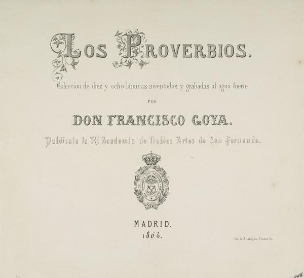 Title Page to 'Los Proverbios' (Published 1864)