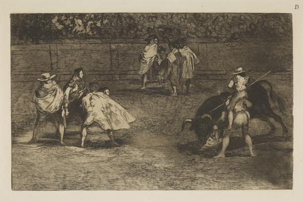 Un Torero Monte Sur Les Epaules D'Un Chulo 'Lanceado' Un Taureau (A bullfighter, mounted on the shoulders of an assistant, spearing a bull),...