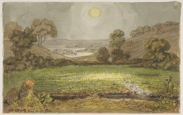 An Idyllic Landscape: the sun shining on a meadow with a river and hills in the distance