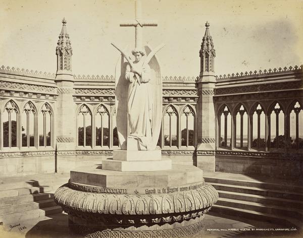 'Memorial Well. Marble statue by Marochetti, Cawnpore'.