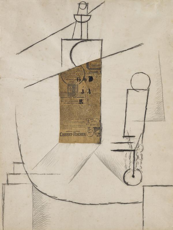 Bouteille et Verre sur un Table (bottle and glass on a table) (1912)