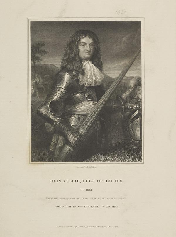 John Leslie, 7th Earl and 1st Duke of Rothes, 1630 - 1681. Lord Chancellor (Published 1833)