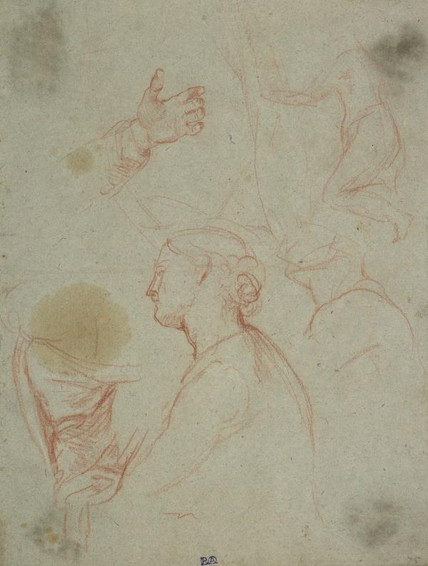 Sheet of Studies of a Female Head, a Hand and Drapery