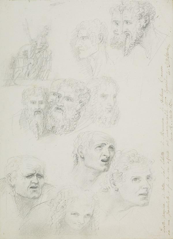 Study of Figures for the Monument to Maria Christina of Austria (Augustinerkirche, Vienna) and Studies of Heads (Late 1790s)